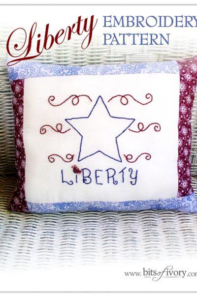 Liberty Embroidery Pattern | Free Printable | www.bitsofivory.com