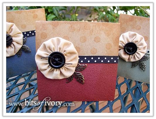 Fabric Yo Yo Gift Cards | www.bitsofivory.com
