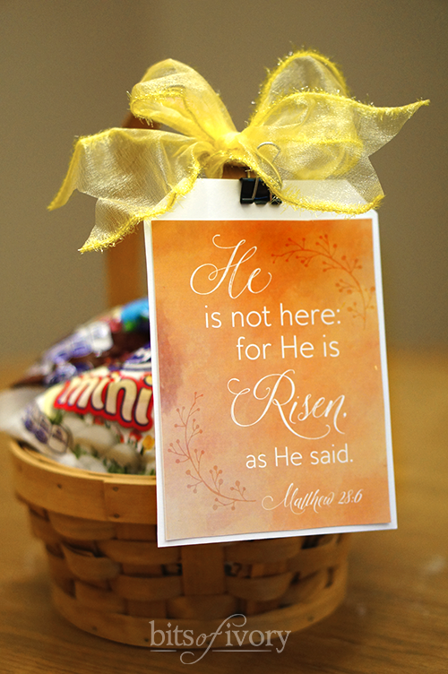Easter basket with religious easter tag