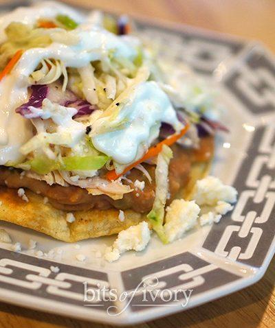 Chicken tostadas with spicy cabbage slaw