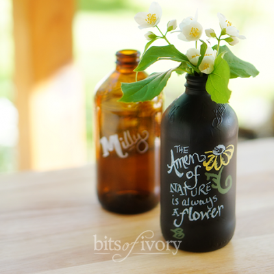 How to Make Classy Chalkboard Vases from Old Bottles