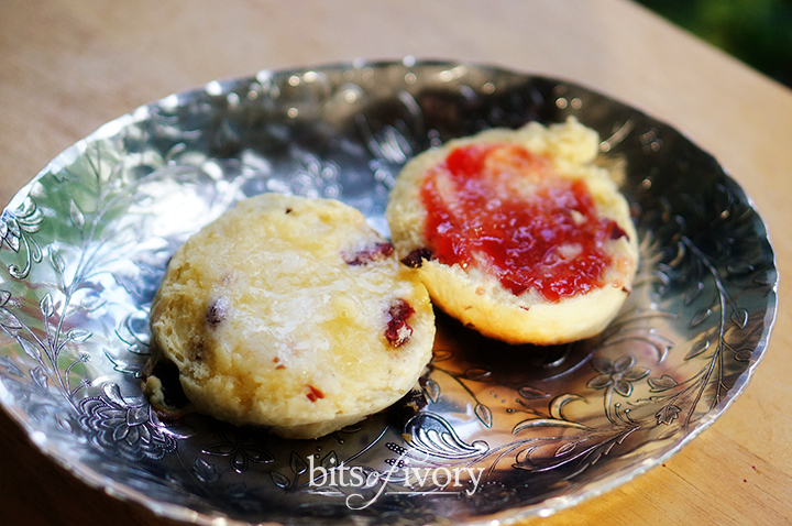 British-Style Scones with jam and butter