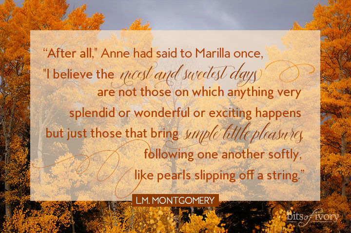 Autumn leaves photo with Anne of Green Gables quote