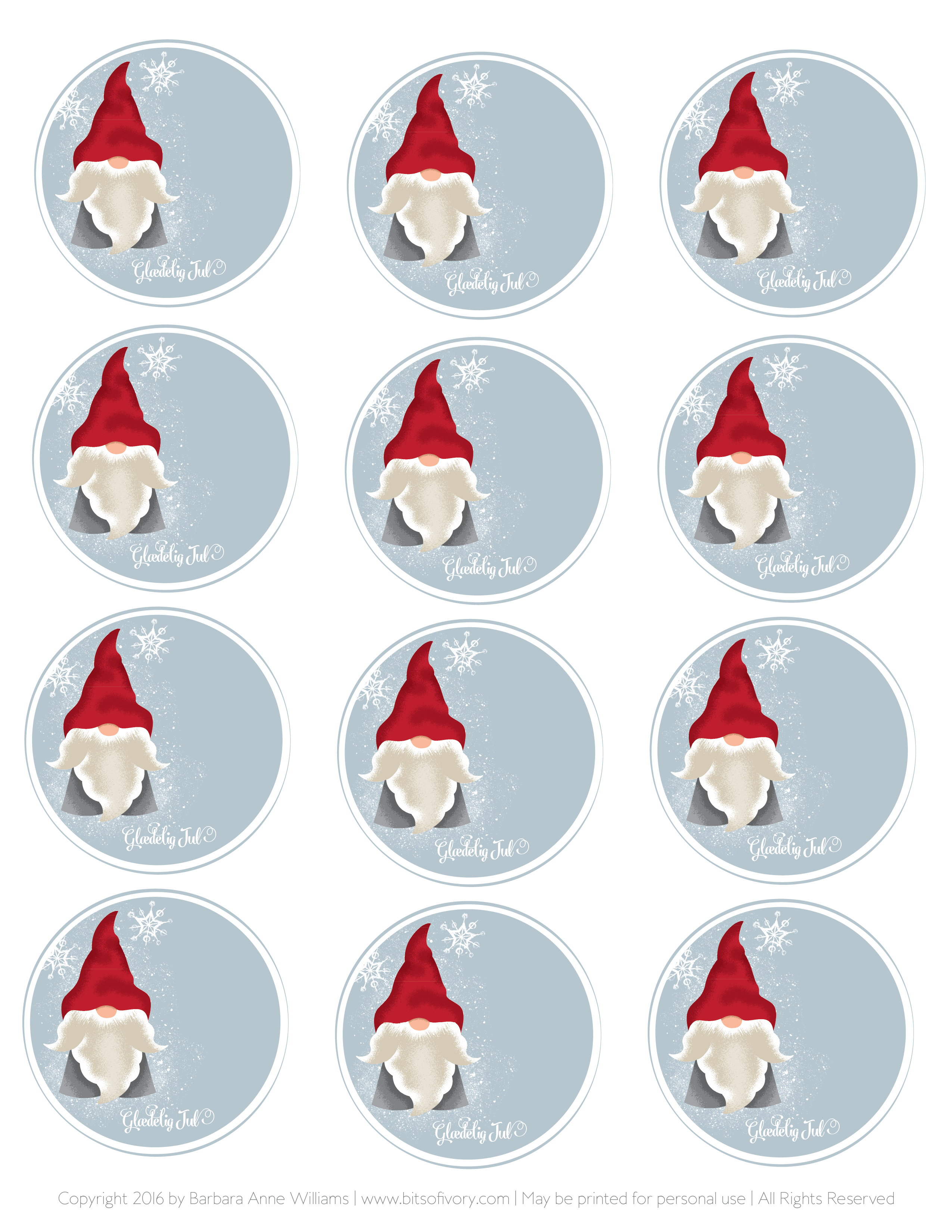 Printable Christmas Tags with Danish Nisse on snowy blue background from www.bitsofivory.com designed by Barbara Anne Williams