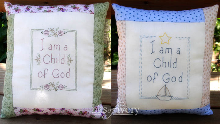 I am a Child of God embroidered pillows with flowers and sailboat