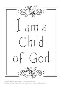 I am a Child of God embroidery pattern with flowers