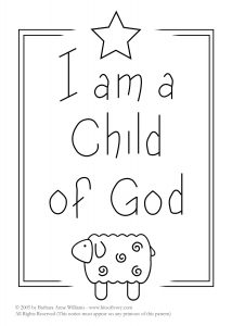 I am a Child of God embroidery pattern with star and lamb