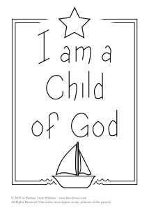 I am a Child of God embroidery pattern with star and sailboat