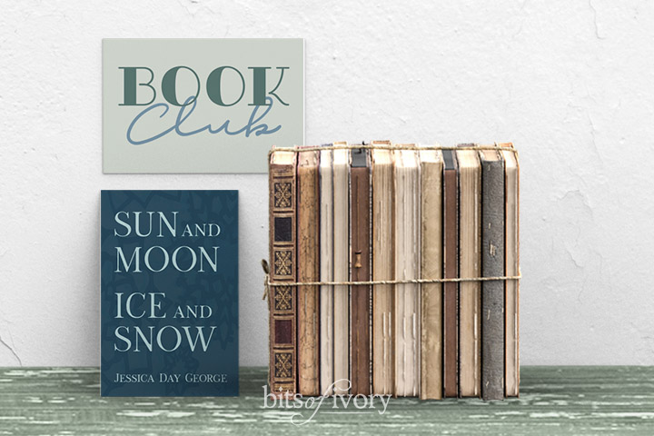 Book Club sign with stack of books and the book Sun and Moon, Ice and Snow by Jessica Day George