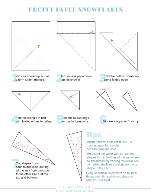 Step by step instructions for paper snowflakes including diagrams. Instructions are also listed on the page below